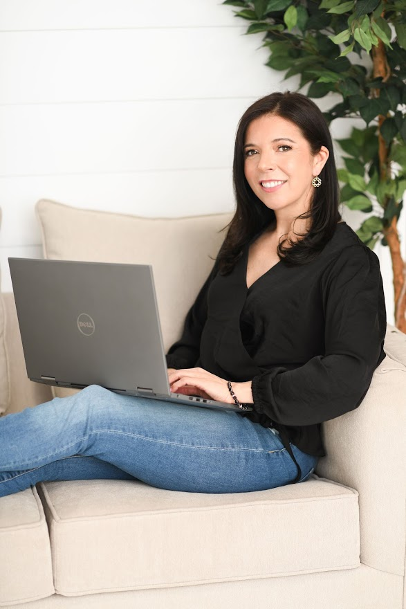Aimee Accinno with Laptop on Couch